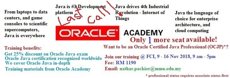 Reminder Oracle Academy